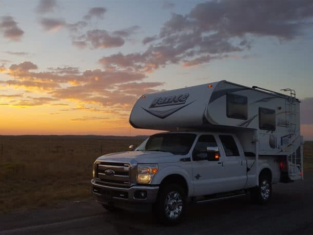 #237 - John and Kathy MorrisseyU.S. 287, just north of Rawlins, Wyoming2012 Ford F2502011 Lance 830Camera Used - Galaxy S6 ActiveWe took a road trip in August 2017, which included watching the total eclipse in Casper, Wyoming.  After a sleepless noisy night boondocking at Little America on I-80, we decided we might as well continue our road trip early that morning.  As soon as we turned north on U.S. 287 toward Casper, we pulled over to enjoy this amazing sunrise.