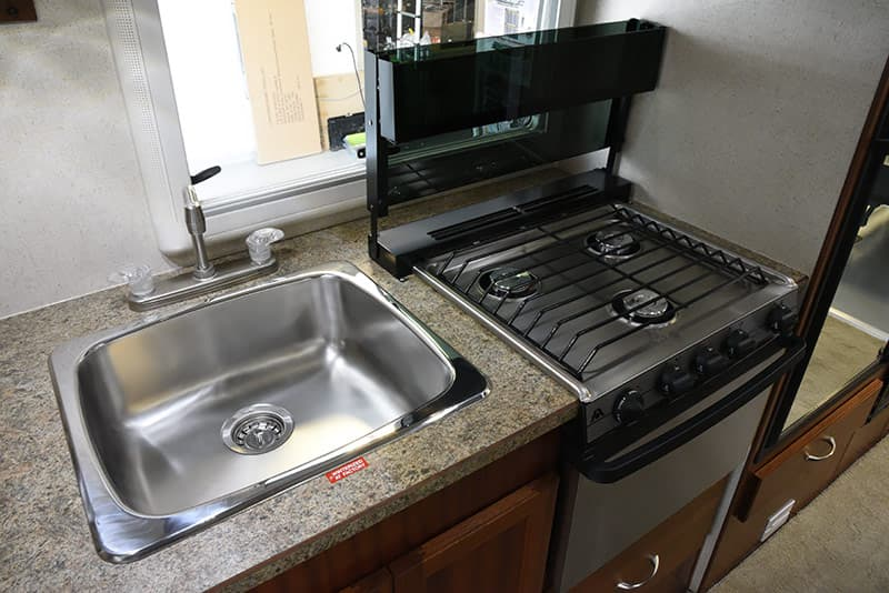 Northern Lite 10-2 sink and stove top open