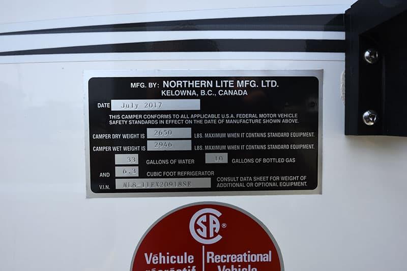 Northern Lite 8-11 EX exterior weight sticker