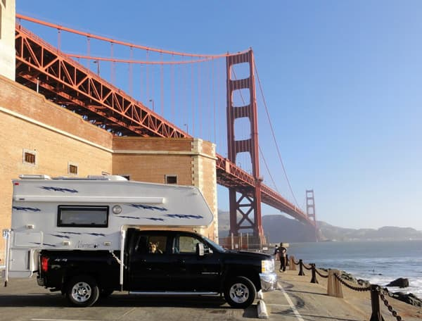 Golden Gate bridge and Northstar camper