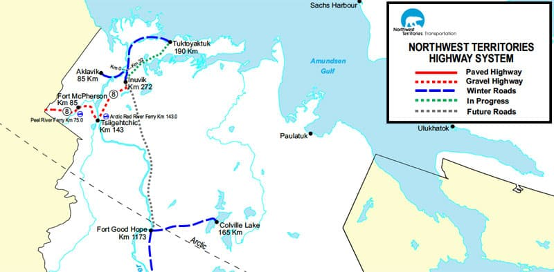 Northwest Territories Ice Road Map