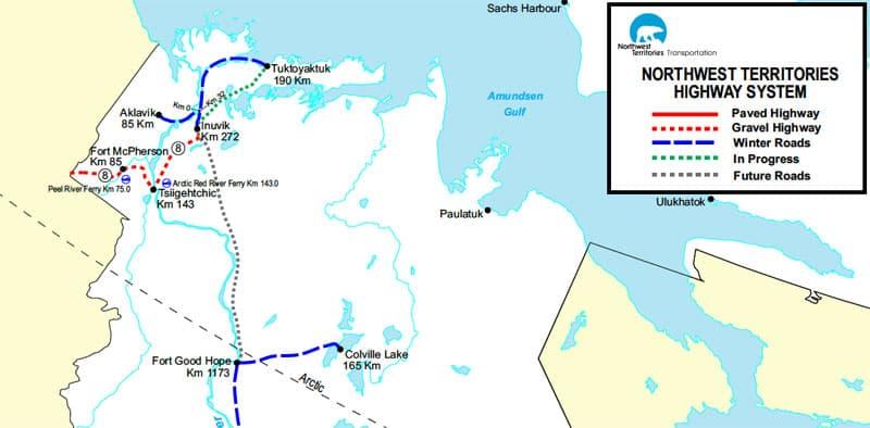 Northwest Territories Ice Road Map