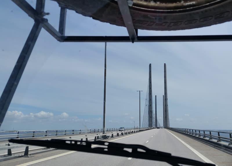 Oresund Bridge, driving from Denmark to Sweden