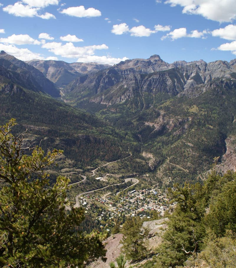 Ouray from way above, Amphitheater Campground, Colorado