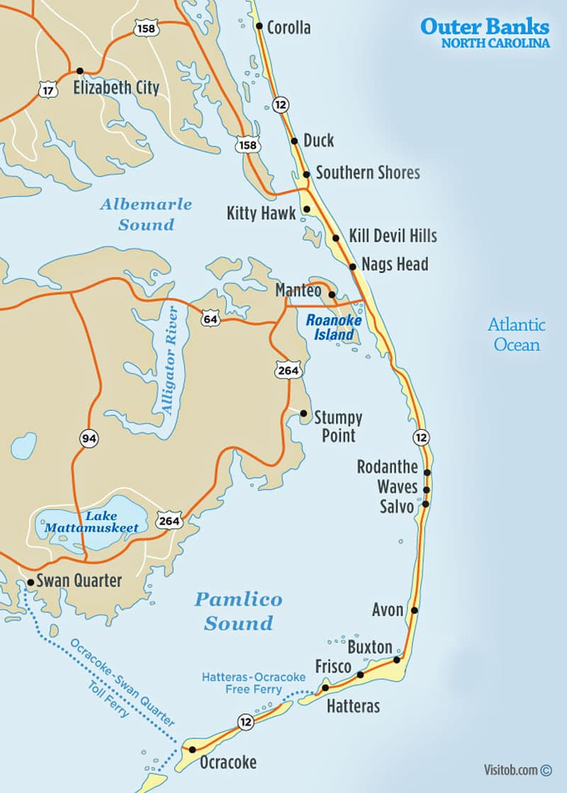 Outer Banks North Carolina Map