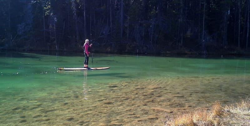 Paddling on Herbert Lake
