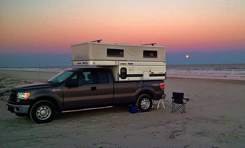 Winter camping on Padre Island, Texas