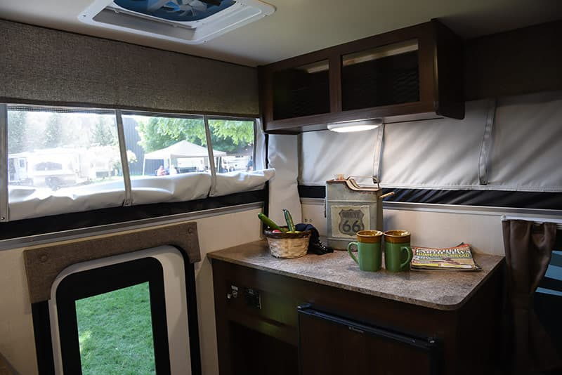 Dark walnut cabinets in 2017 Palomino campers