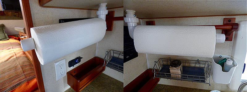 Paper towel holder swings into position