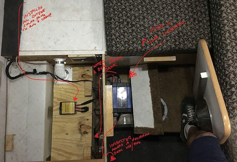 1500-watt power inverter and an external plug solar charger