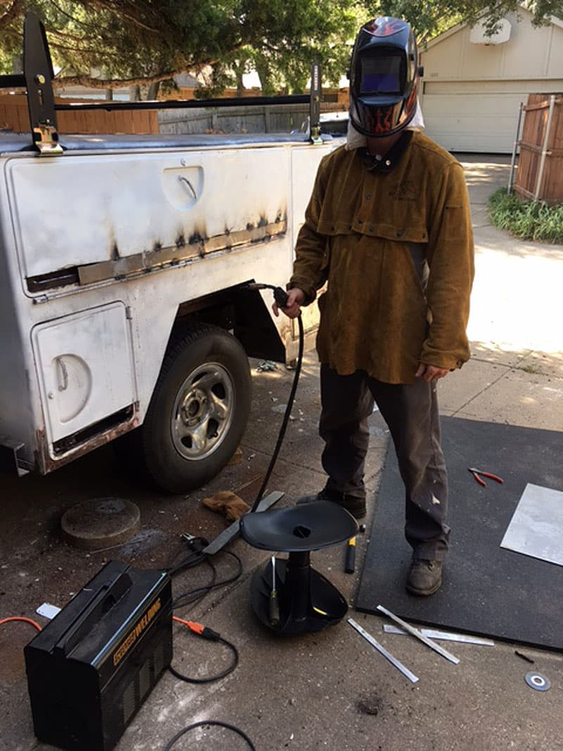 David welding the trailer