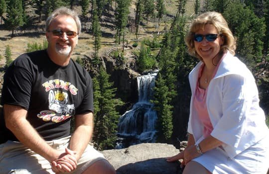 corvette-harley-yellowstone-waterfall