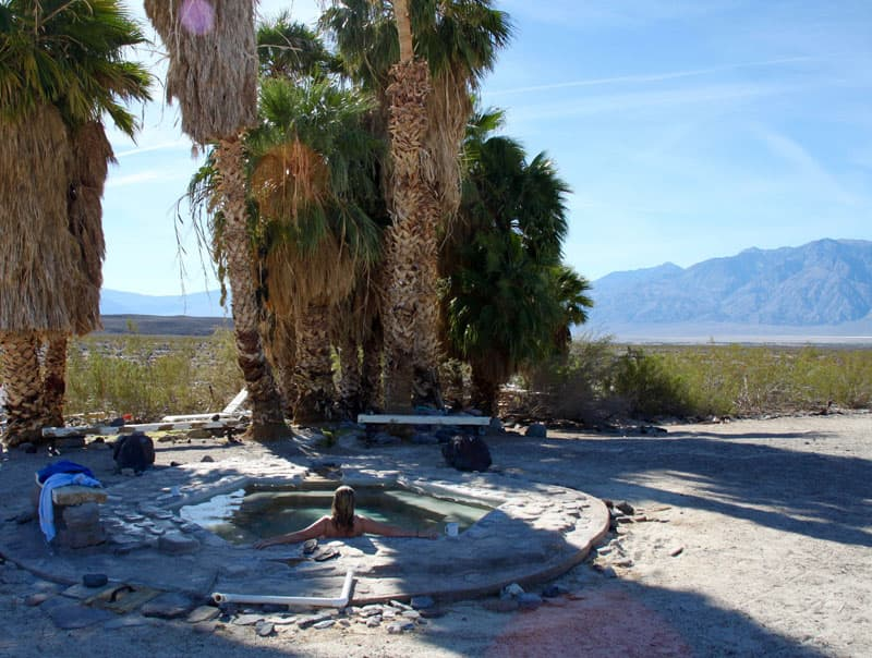 Soaking in the Saline Valley hot springs, California