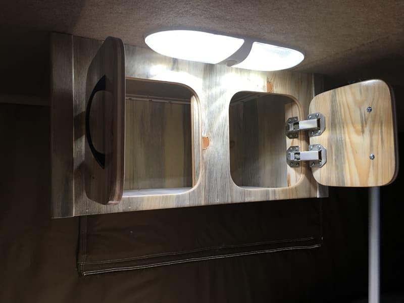 Phoenix Mini Max Beetle Kill Pine cabinets open