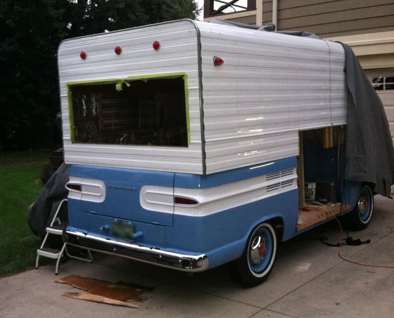 The window cut out on Rampside camper
