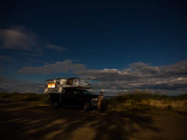 #270 - Shannon TaylorPinery Provincial Park, Lake Huron, Ontario2012 Dodge Ram 25002015 Adventurer 80RBCamera Used - Canon 5D Mrk 3 and 16-35 mm, F 2.8 lensMe and my golden doodle, Sully spent the night watching for the Northern Lights!  A nice dark sky and many clouds prevented seeing much light.  This did not prevent me from enjoying every moment of my home on wheels.