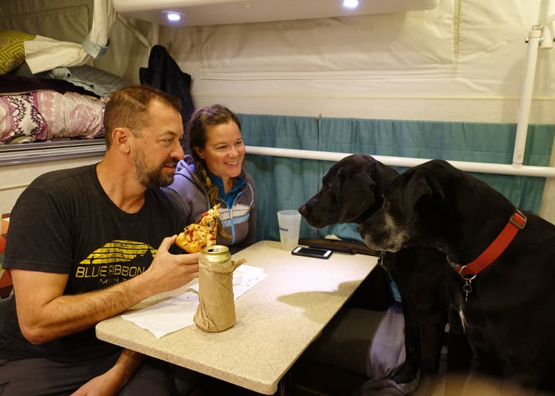 Pizza night in Hallmark camper