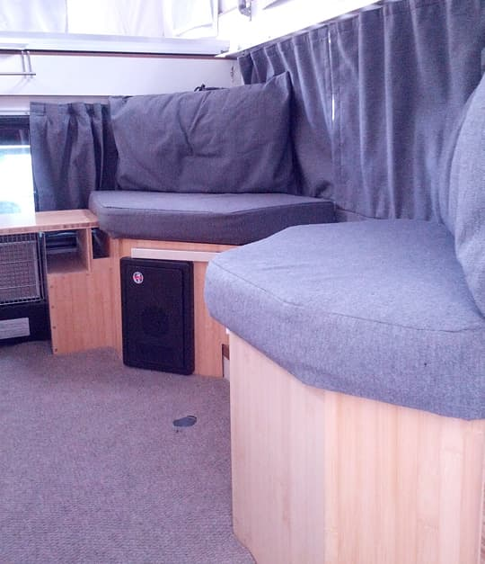 Making truck camper seating more comfortable for Caddy corner bed