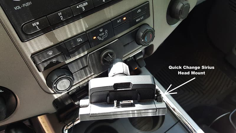 Quick change Sirius XM head mount