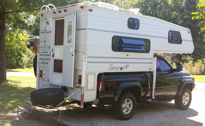 Rack for spare tire with Northstar Camper