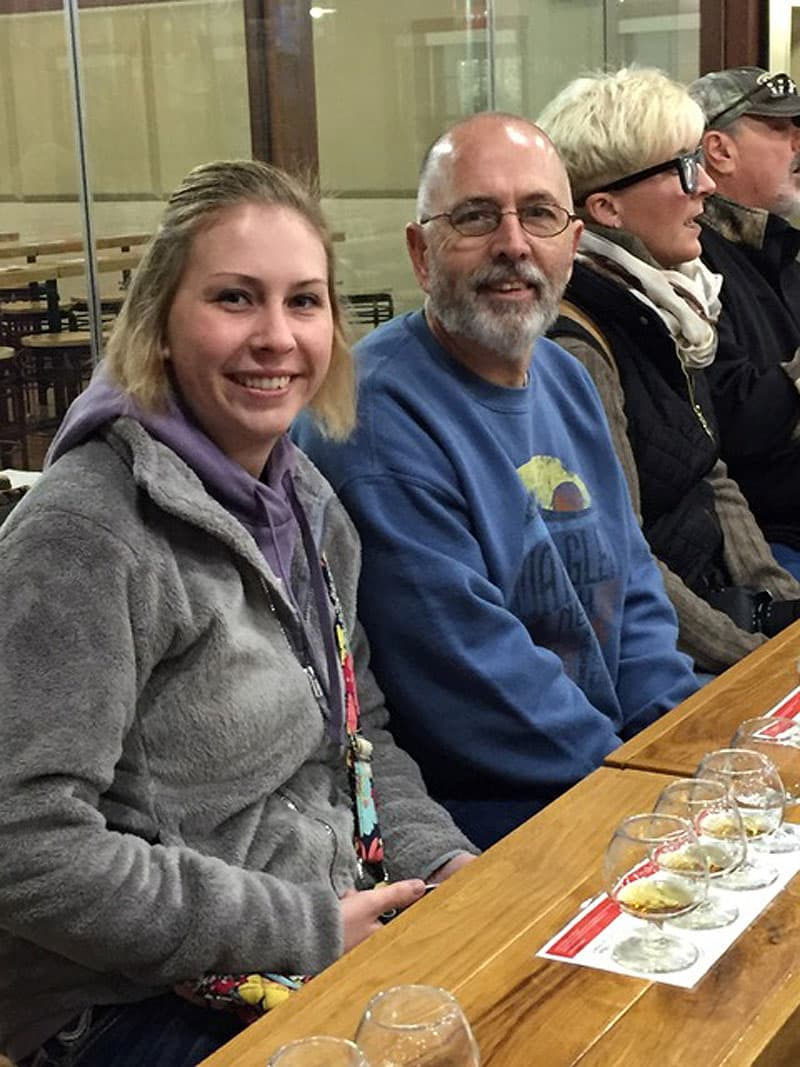 Dad & daughter enjoying their Bourbon at Makers Mark