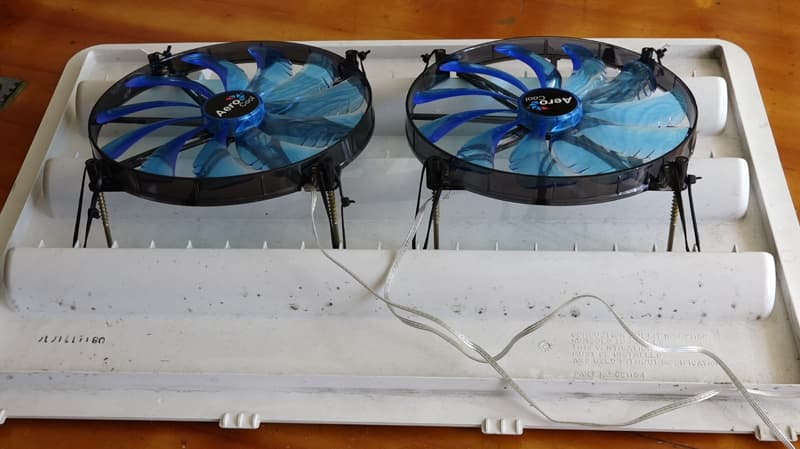 Refrigerator Cooling Fans attached to vent cover