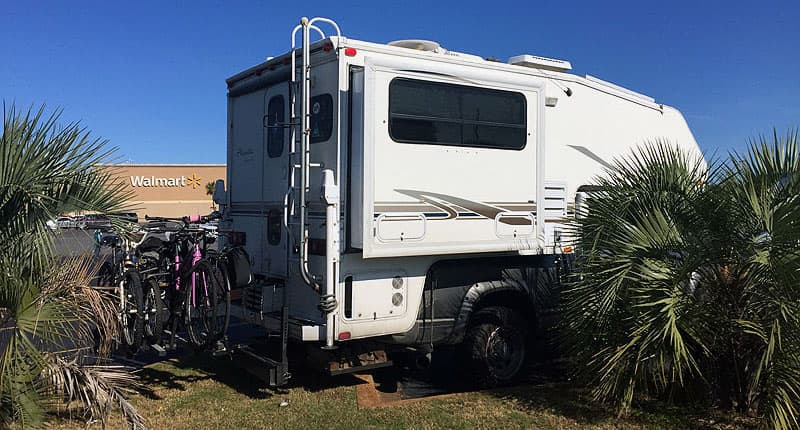 Dry camping at Walmart on cross-country journey
