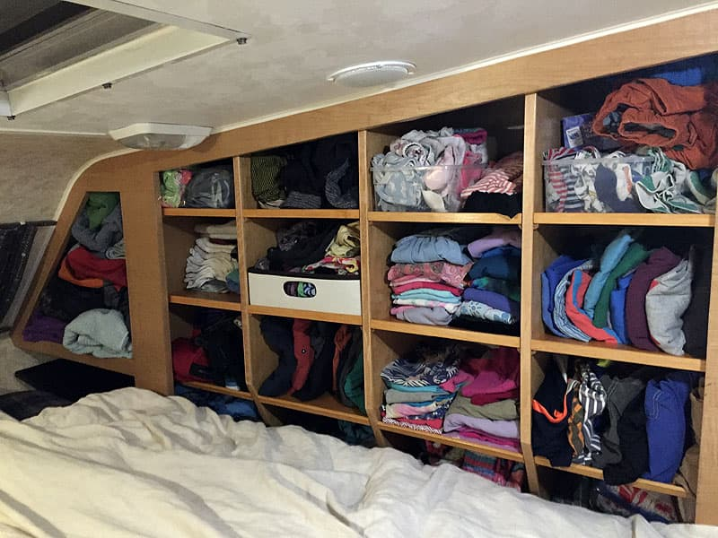 Camper cubbies for clothes, toys, electronics, and shower items
