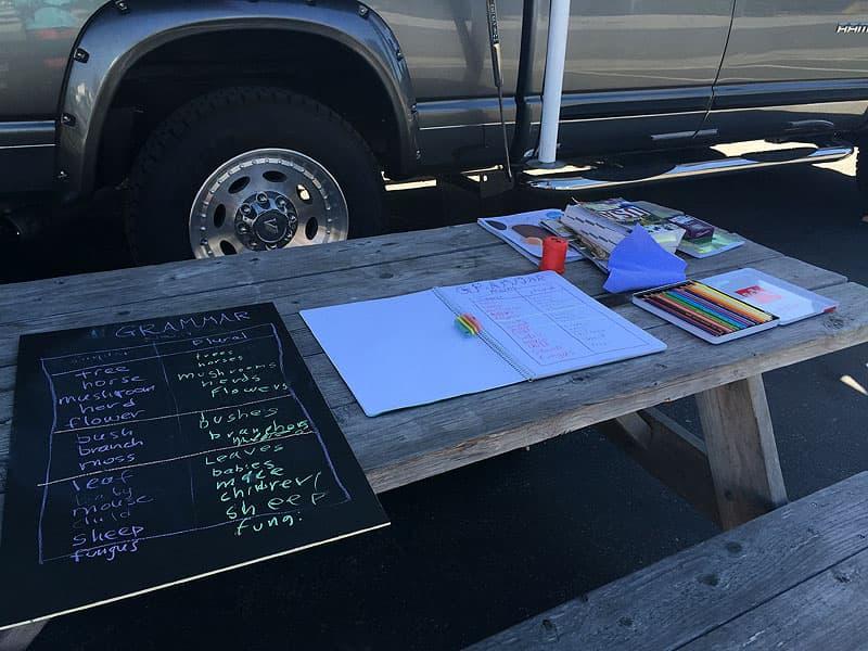 Road schooling grammar work