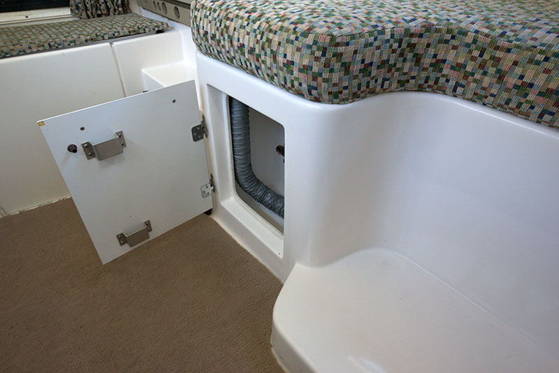 Roamer Camper Interior Under Dinette Storage