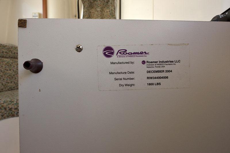 Roamer Camper Interior Weight Sticker