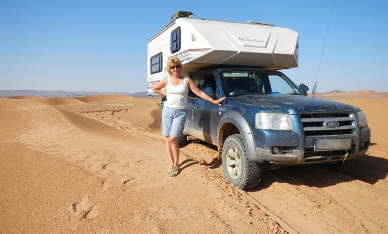 Sally Blackman with her truck camper