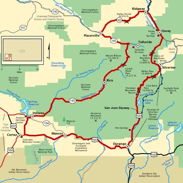 San Juan Skyway in Colorado Map