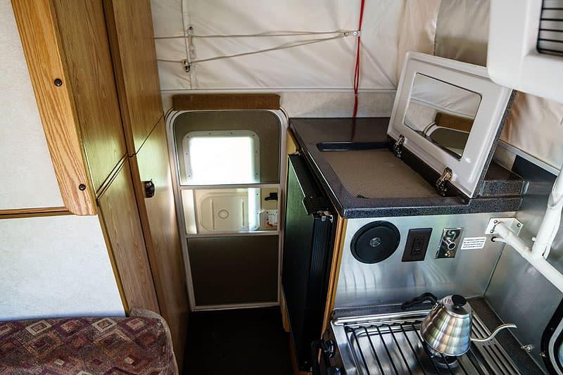Short bed bathroom in popup camper