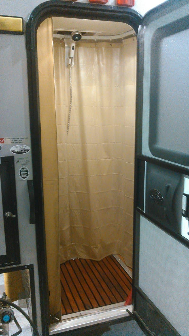 Shower completed inside CampLite 5.7