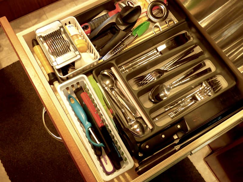 Silverware drawer in Northern Lite camper