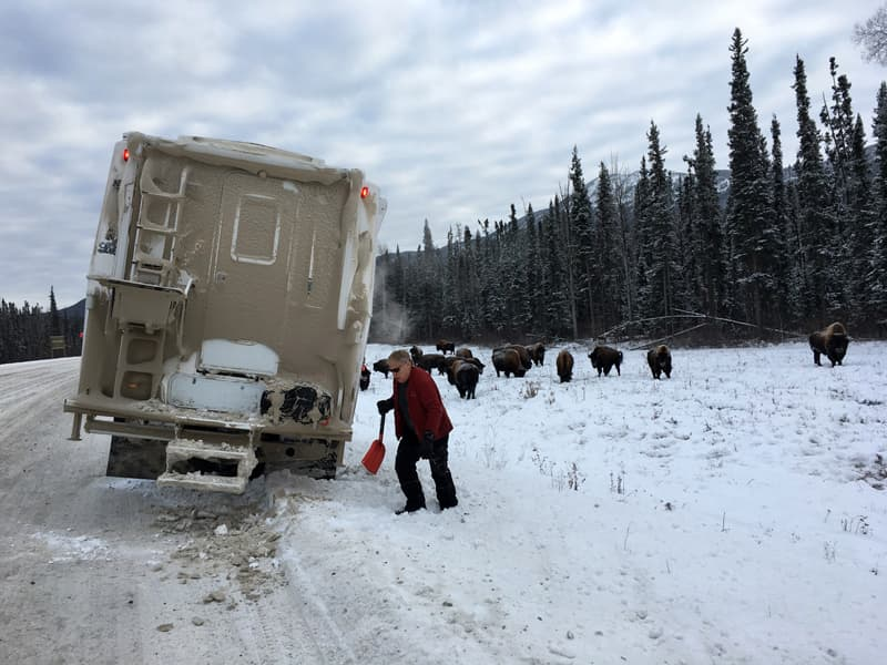 Sliding off the icy road on the way back near Liard Hot Springs
