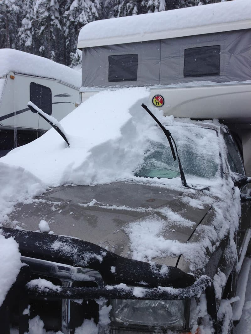 Snow covered Hallmark Camper