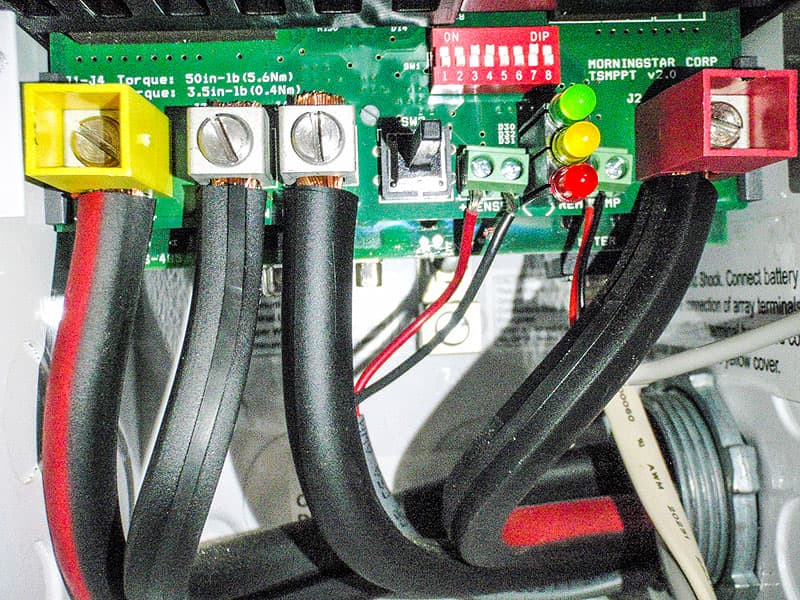 Charge controller cable installation