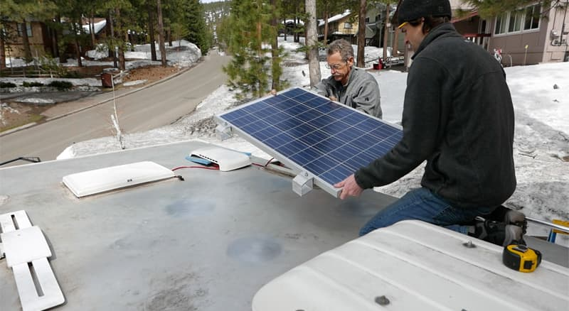 Solar panel installation, Lake Tahoe