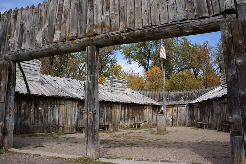 Reconstructed Fort Mandan, Lewis and Clark monument