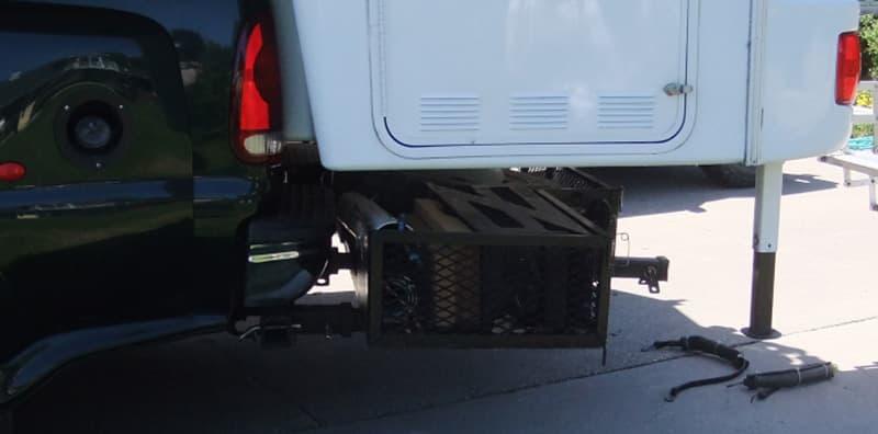 Spare tire holder under Bigfoot back overhang