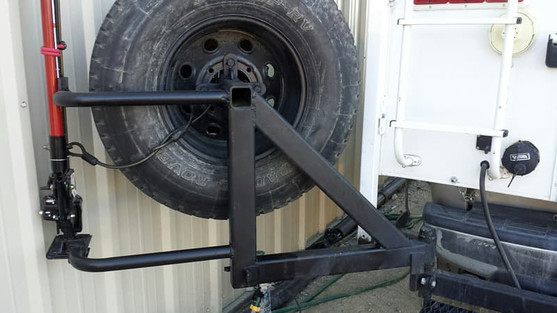 Spare tire holder Camper close up