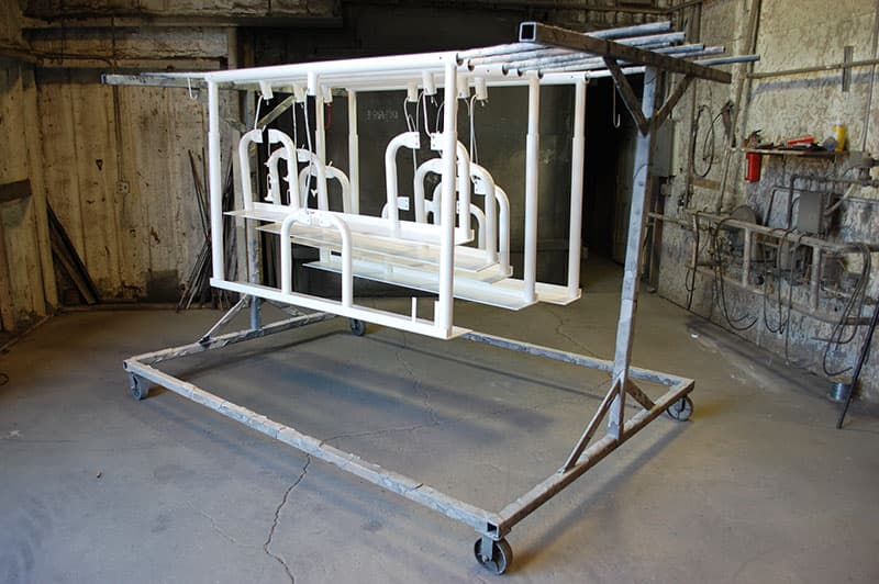Stable Lift powder coated white out of oven