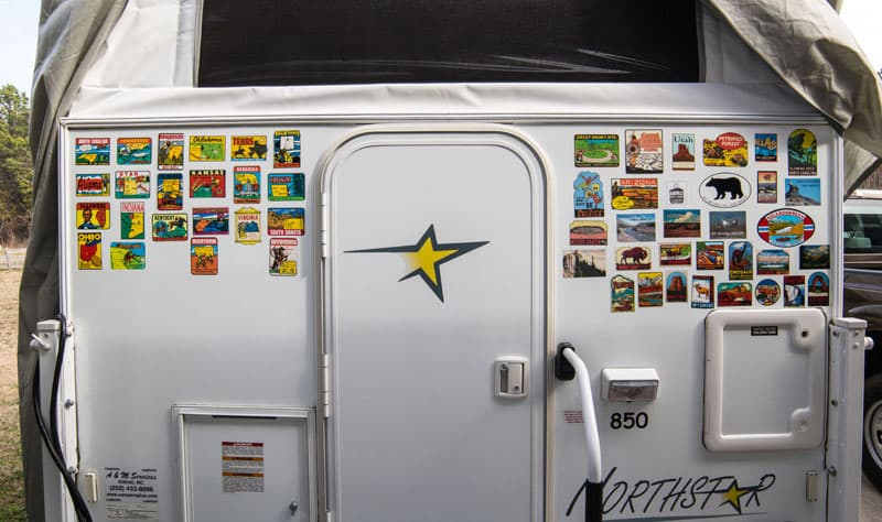 Travel stickers on Northstar camper