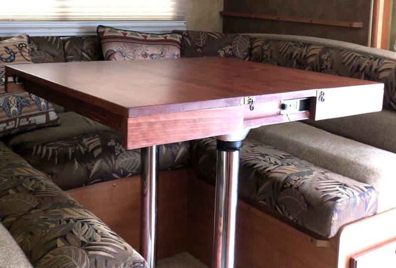Storage Inside The Camper Dinette Table