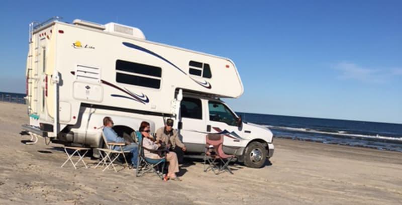 Beach camping Texas