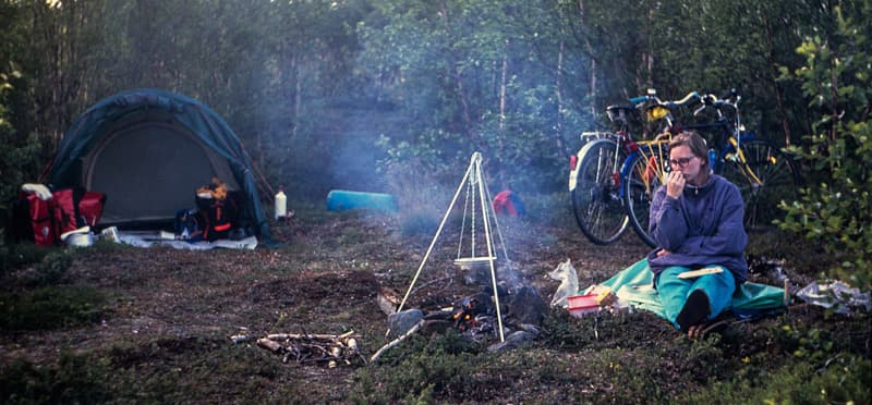 Sweden-bike-and-tent-Lappland
