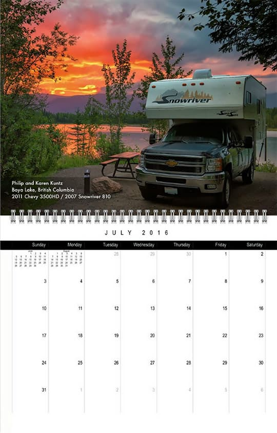 2016 Calendar Ready July Kuntz