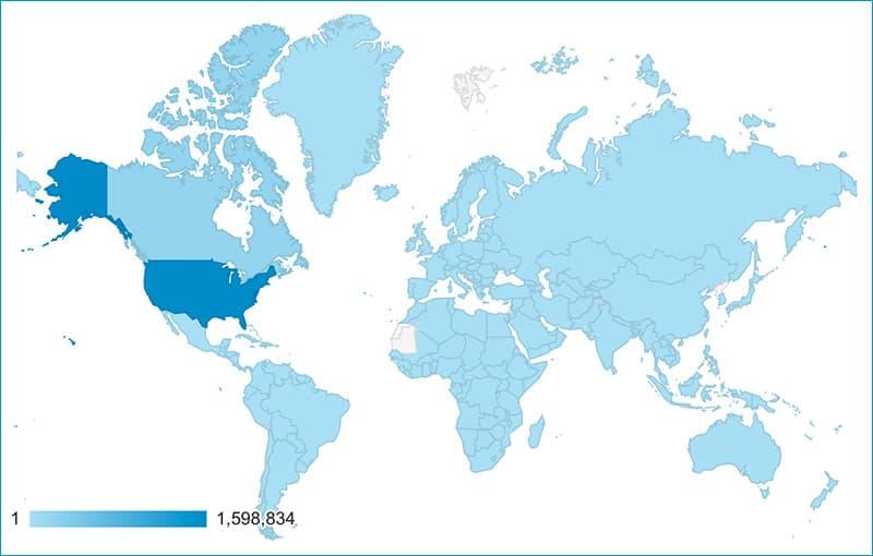 TCM international Readership continents